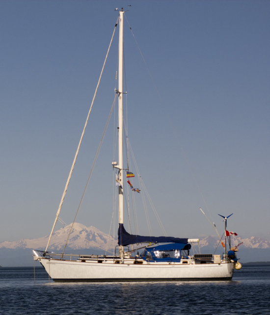 Boat in the Shadow of Mount Baker