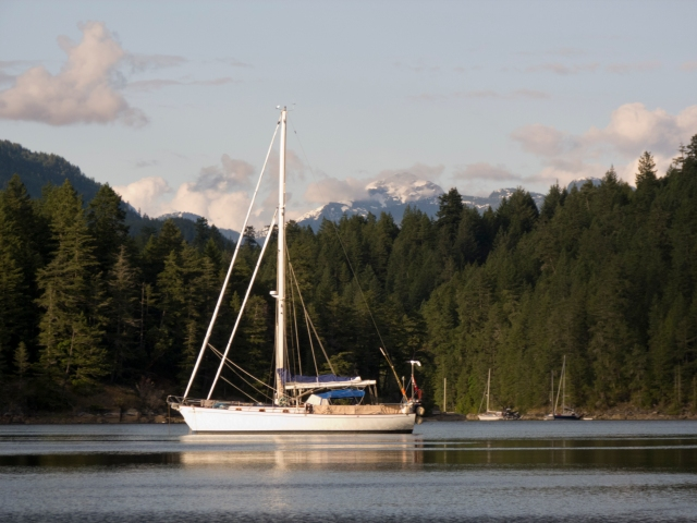 Quoddy's Run at anchor in Desolation Sound