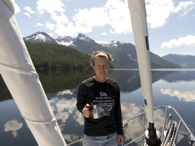 Lunch adrift: Karin feels the heat