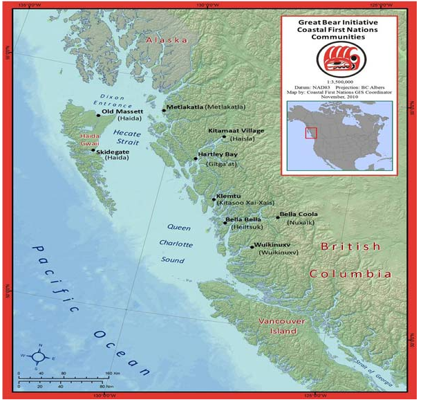 map of Central and North Coast First Nations in BC